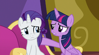 Twilight puts a hoof around Rarity S9E19