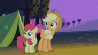 Apple Bloom and Applejack gasping S2E5