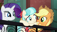 Applejack and Rarity cheer up Coco S5E16