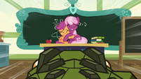 Cragadile charges at Cheerilee and Scootaloo S9E12