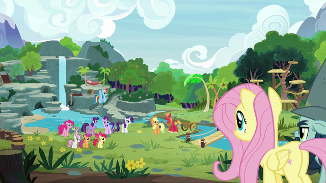 File:Fluttershy and friends finish building the sanctuary S7E5.png