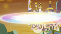 Light bursting outward from Canterlot S9E2