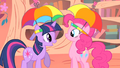 Pinkie Pie and Twilight with umbrella hats S1E15.png