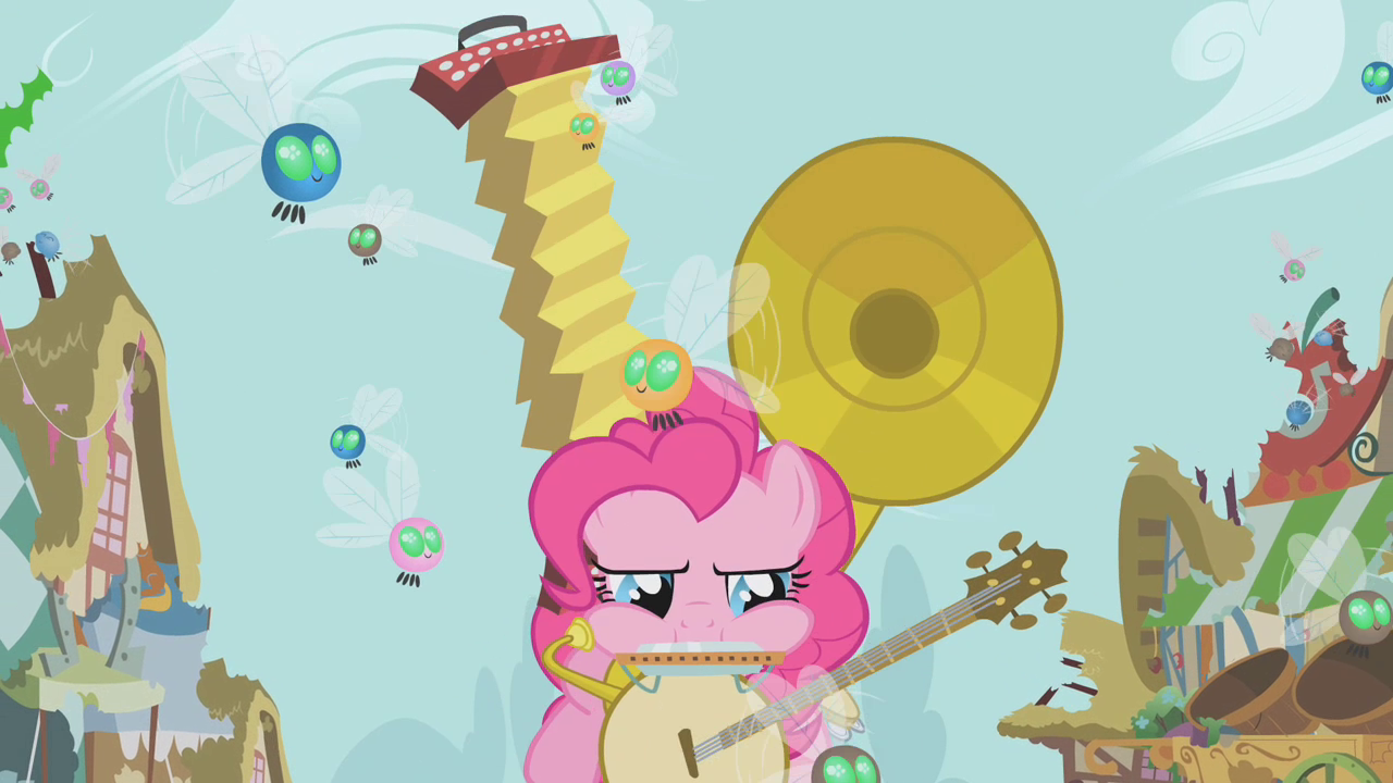 Image pinkie pie and fluttershy flying png my little pony fan - Musical Abilities Pinkie Pie Instruments S1e10