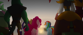 Ponies and pirates look at the glowing water MLPTM
