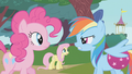 Rainbow Dash blames Pinkie Pie for making her drop the ball S1E07.png