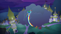 Rainbow Dash curling around a cloud S9E17