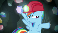 Rainbow Dash tapping on the cave wall S8E17