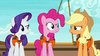 Rarity, Pinkie, and AJ looking skeptical S6E22