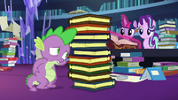 Spike exhausted from carrying books S7E26