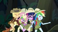 AJ, Fluttershy, and Twilight bump into Rainbow EGS1