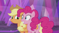 Applejack and Pinkie leaving the mine S5E20