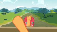 Applejack points her hooves to the land S4E09