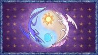 Celestia and Luna form a Yin and Yang-like symbol S1E01