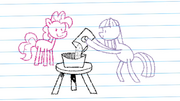 Drawing of Pinkie looking at Maud Pie making rock candy S4E18