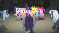 Mane six surrounded by the creepy ponies S5E1