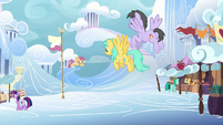 Pegasi flying through Cloudsdale S7E14
