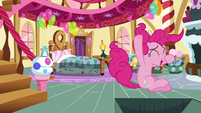 Pinkie Pie jumping into the trap door S8E3