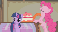Pinkie Pie lifting entire cake with her tongue S1E10