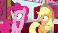 Pinkie and AJ hears Rutherford's loud voice S5E11.png