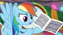 Rainbow Dash holding sheet music BGES2