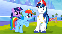 Rainbow trying to convince Shining Armor S3E12