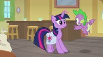 Spike stops Twilight from seeing Dusty S9E5