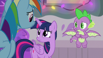 Twilight, Dash, and Spike look at each other S8E16