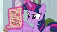 Twilight presents Cozy Glow's test paper S8E12