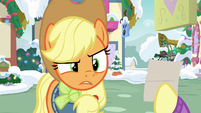 Applejack looks confused at Fluttershy MLPBGE