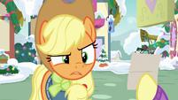 Applejack looks confused at Fluttershy MLPBGE