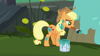 Applejack painting a wooden board S5E16