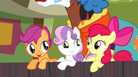 Cutie Mark Crusaders smiling S5E6