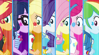 Equestria Girls with cutie marks on their cheeks EGROF