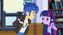 Flash smiling at blushing Twilight EG
