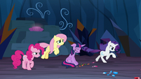 Fluttershy and Rarity charging into battle S9E2