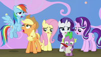 Main ponies and Spike groaning S8E7