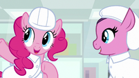 Pinkie Pie explaining to factory mare S9E14