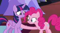Pinkie touches Twilight's tummy S5E11