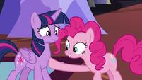 Pinkie touches Twilight's tummy S5E11