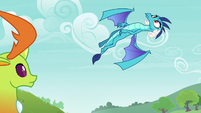 Princess Ember swooping into the air S7E15