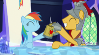 Rainbow and Magnus knock their cider cups together S7E26