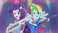 Rarity and Rainbow Dash rocking out EG2