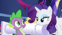 Rarity bats her eyelashes at Spike S5E3