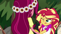 Sunset Shimmer puts a hand on Gloriosa's arm EG4
