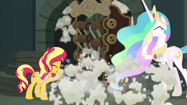 File:Sunset and Celestia cough through the smoke EGFF.png