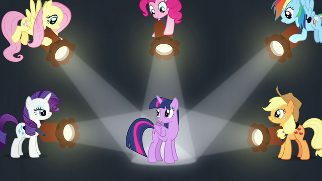 File:Twilight's friends shine spotlights on her S7E2.png