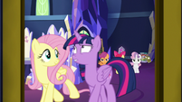 Twilight and Fluttershy leave throne room S9E22
