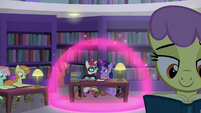 Twilight and Moon Dancer inside a magic bubble S5E12