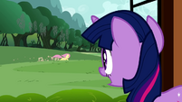 Twilight watching Fluttershy run S2E21